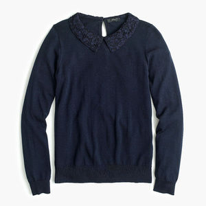 J. Crew Med Navy Tippi Sweater with Lace Collar